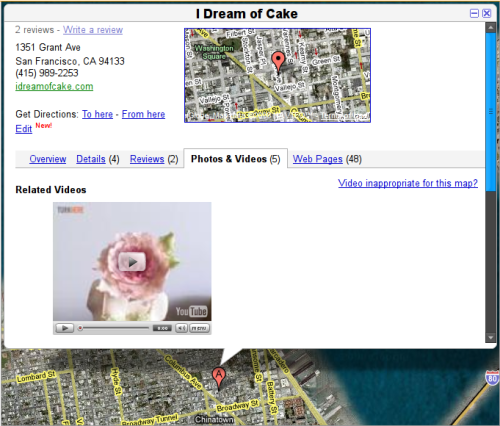 An Example of YouTube video on Google Maps.