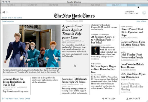 New York Times reader for Mac