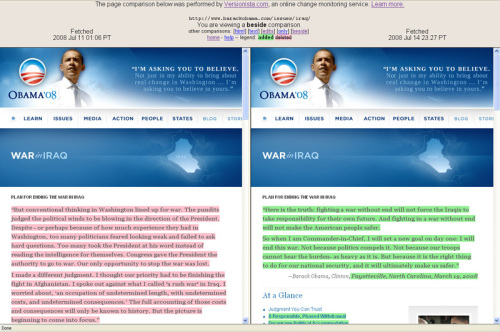 Obama statements compared at Versionista