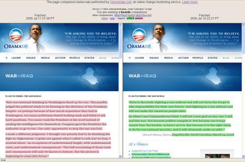 Obama statements compared at Versionista