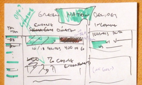 The sketch that served as the primary design document for enviroVOTE